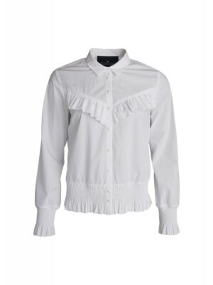 Amy ruffle shirt (White | Blue)